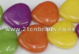 CCN728 15.5 inches 20*20mm heart candy jade beads wholesale