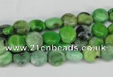 CCO130 15.5 inches 8mm flat round dyed natural chrysotine beads