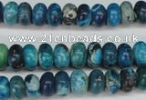 CCO171 15.5 inches 6*10mm rondelle dyed natural chrysotine beads