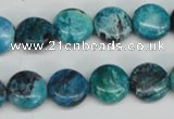 CCO175 15.5 inches 12mm flat round dyed natural chrysotine beads