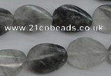 CCQ278 15.5 inches 15*20mm faceted & twisted oval cloudy quartz beads