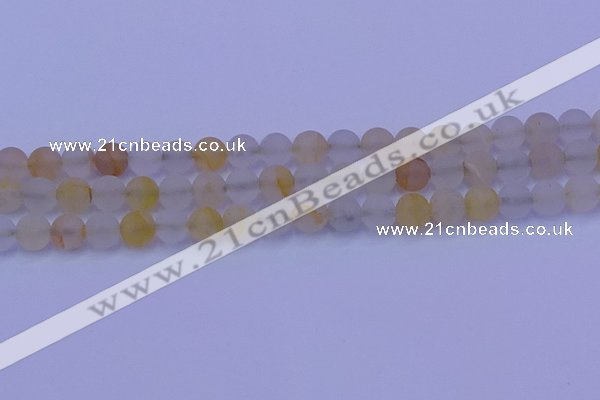 CCR372 15.5 inches 8mm round matte citrine beads wholesale