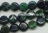 CCS160 15.5 inches 10mm flat round dyed chrysocolla gemstone beads