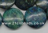 CCS162 15.5 inches 25mm flat round dyed chrysocolla gemstone beads