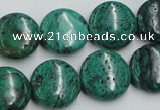 CCS214 15.5 inches 16mm flat round natural Chinese chrysocolla beads