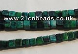 CCS610 15.5 inches 4*4mm cube dyed chrysocolla gemstone beads