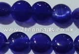 CCT498 15 inches 8mm flat round cats eye beads wholesale