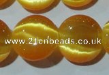 CCT542 15 inches 12mm flat round cats eye beads wholesale