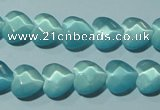 CCT963 15 inches 10*10mm faceted heart cats eye beads wholesale