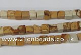 CCU29 15.5 inches 5*5mm cube picture jasper beads wholesale