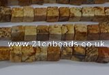 CCU309 15.5 inches 4*4mm cube picture jasper beads wholesale