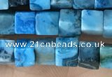 CCU453 15.5 inches 4*4mm cube blue crazy lace agate beads