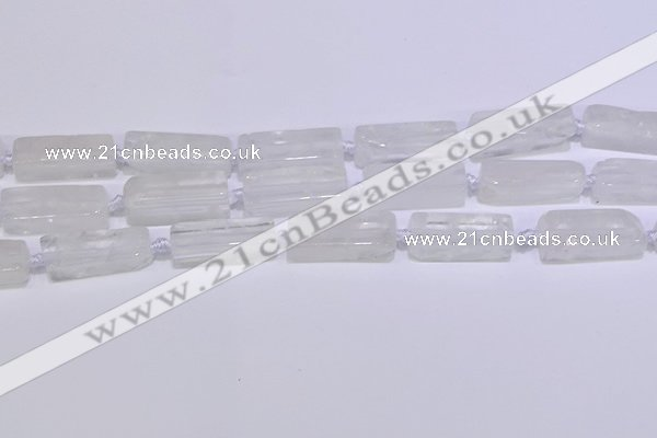 CCU600 15.5 inches 8*20mm - 10*30mm cuboid white crystal beads