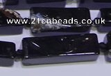 CCU610 15.5 inches 8*20mm - 10*30mm cuboid black agate beads