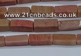 CCU717 15.5 inches 4*13mm cuboid pink wooden jasper beads wholesale