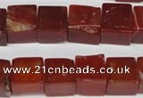 CCU81 15.5 inches 12*12mm cube red agate beads wholesale