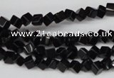 CCU94 15.5 inches 4*4mm cube black agate beads wholesale