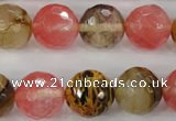 CCY506 15.5 inches 16mm faceted round volcano cherry quartz beads