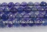CCY601 15.5 inches 6mm faceted round blue cherry quartz beads