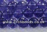 CCY604 15.5 inches 12mm faceted round blue cherry quartz beads