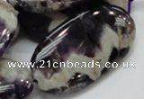 CDA14 15.5 inches 25*50mm oval dogtooth amethyst quartz beads
