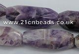 CDA30 15.5 inches 15*38mm – 16*40mm faceted rice dogtooth amethyst beads