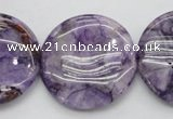 CDA317 15.5 inches 30mm flat round dyed dogtooth amethyst beads
