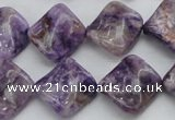 CDA320 15.5 inches 15*15mm twisted diamond dyed dogtooth amethyst beads