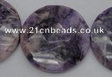 CDA328 15.5 inches 32mm faceted coin dyed dogtooth amethyst beads