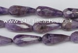 CDA340 15.5 inches 8*20mm faceted teardrop dyed dogtooth amethyst beads