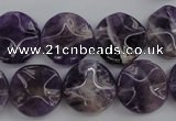 CDA37 15.5 inches 16mm wavy coin dogtooth amethyst beads