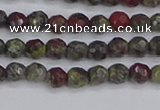 CDB320 15.5 inches 4mm faceted round dragon blood jasper beads
