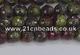 CDB329 15.5 inches 6mm faceted round A grade dragon blood jasper beads