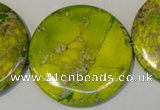 CDE129 15.5 inches 44mm flat round dyed sea sediment jasper beads