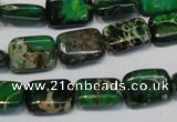 CDE199 15.5 inches 10*14mm rectangle dyed sea sediment jasper beads
