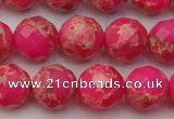 CDE2113 15.5 inches 12mm faceted round dyed sea sediment jasper beads