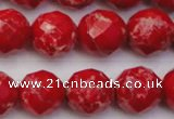 CDE2125 15.5 inches 16mm faceted round dyed sea sediment jasper beads