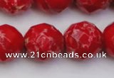CDE2128 15.5 inches 22mm faceted round dyed sea sediment jasper beads