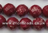 CDE2136 15.5 inches 18mm faceted round dyed sea sediment jasper beads