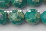 CDE2179 15.5 inches 24mm faceted round dyed sea sediment jasper beads