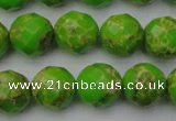CDE2185 15.5 inches 16mm faceted round dyed sea sediment jasper beads
