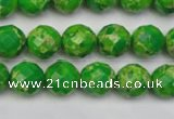 CDE2190 15.5 inches 6mm faceted round dyed sea sediment jasper beads