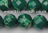CDE2206 15.5 inches 18mm faceted round dyed sea sediment jasper beads