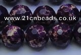 CDE2536 15.5 inches 16mm faceted round dyed sea sediment jasper beads