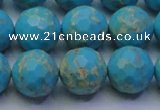 CDE2542 15.5 inches 14mm faceted round dyed sea sediment jasper beads