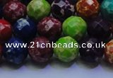 CDE2697 10mm faceted round mixed color sea sediment jasper beads