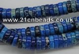 CDE51 15.5 inches 3*10mm coin dyed sea sediment jasper beads