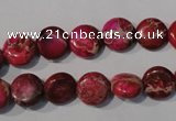 CDE785 15.5 inches 10mm flat round dyed sea sediment jasper beads