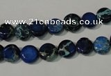 CDE905 15.5 inches 8mm flat round dyed sea sediment jasper beads