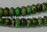 CDE927 15.5 inches 6*10mm rondelle dyed sea sediment jasper beads